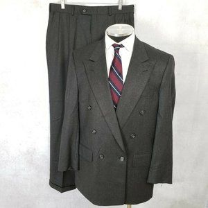 Vtg Burberry 41S Gray Double Breasted 2pc Suit